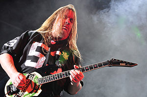 Italiano: Jeff Hanneman con gli Slayer al Mayh...