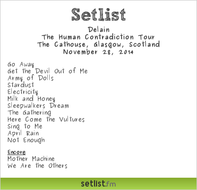 Delain Setlist The Cathouse, Glasgow, Scotland 2014, The Human Contradiction Tour