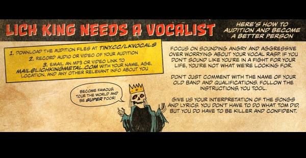 Lich King seek new vocalist