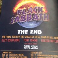 Black Sabbath 2017 UK dates