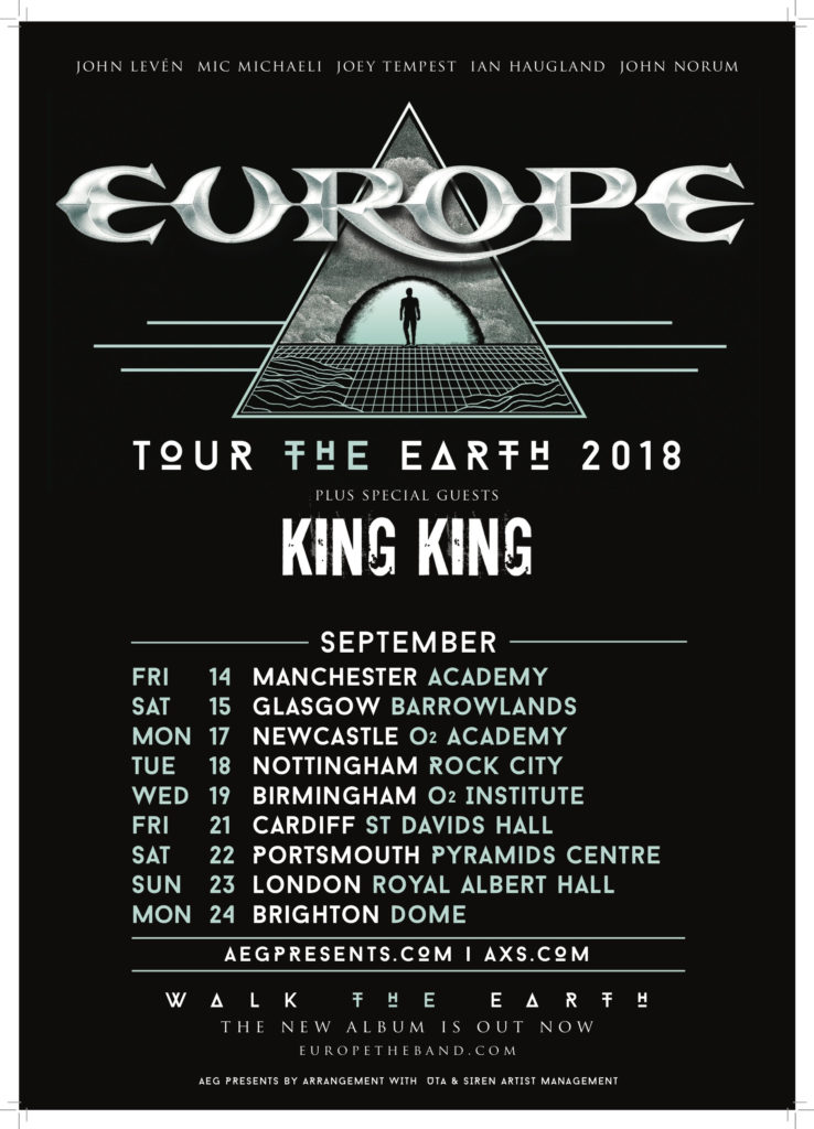 Europe announce 2018 UK tour