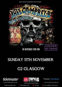 Gig Review: Phil Campbell & the Bastard Sons / Leader of Down – G2, Glasgow (11th November 2018)